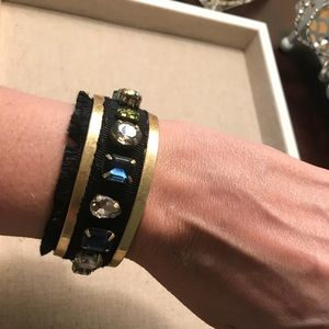 Bracelet ( cuff ) gold and black with jewels